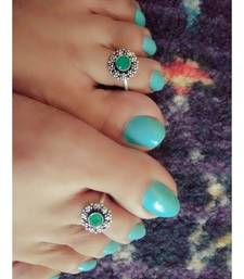 Green Stone Toe Ring