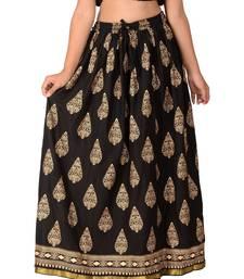 Black printed rayon skirts