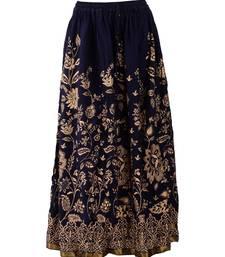 blue printed rayon skirts