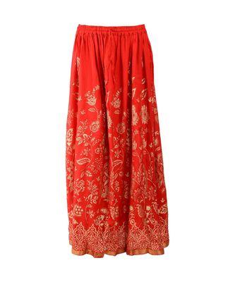 Red printed rayon skirts