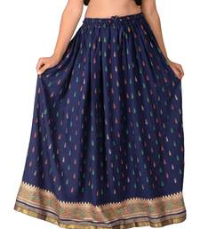 blue woven rayon skirts