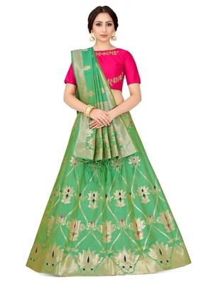 Green Zari Woven Polyester Semi Stitched Lehenga