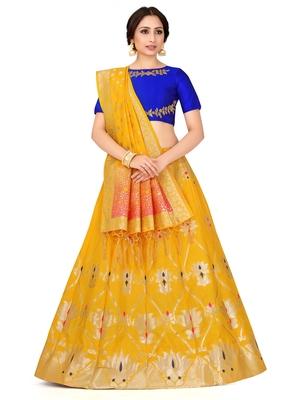 Gold Zari Woven Polyester Semi Stitched Lehenga