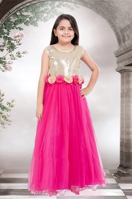 magenta embroidered net kids girl gowns