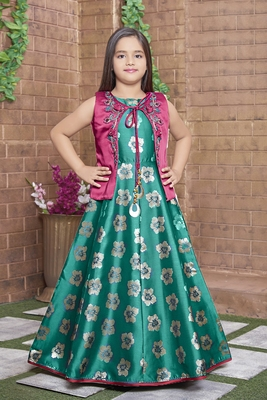 green embroidered jaquard kids girl gowns