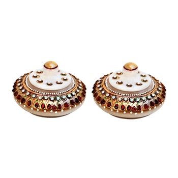 Handicrafts Paradise Kumkum Box pair red stone work
