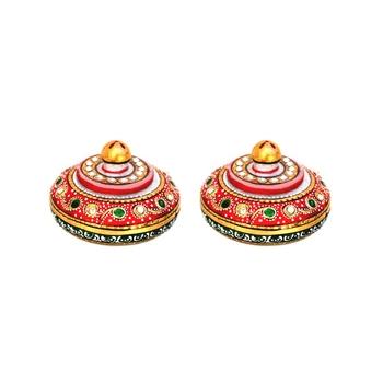 Handicrafts Paradise Kumkum Box pair Meena work