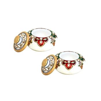 Handicrafts Paradise Kumkum Box pair Multi color Meena work