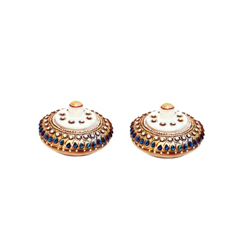 Handicrafts Paradise Kumkum Box pair Blue stone work