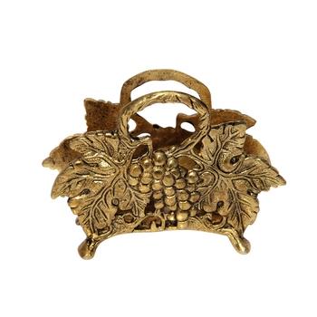 Napkin Holder Fruits Pattern in Metal Antique golden finish