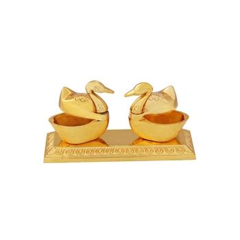 Roli tikka haldi kumkum double holder in metal swan shaped