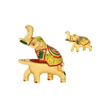 Roli tikka haldi kumkum holder in metal elephant shaped with enamel