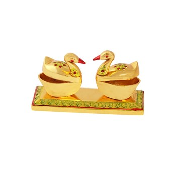 Roli tikka haldi kumkum double holder in metal swan shaped with enamel