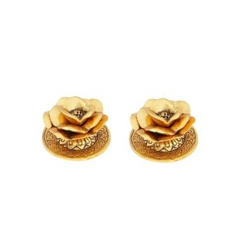 Incense holder pair floral design gold plated