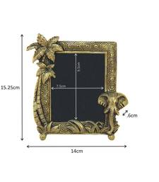 Photo Frame Antique Golden with elephant face and coconut tree in Metal