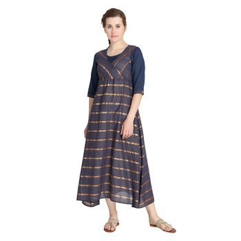 Grey woven cotton long-kurtis