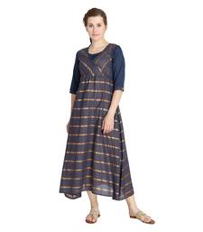Grey woven cotton long-kurtis