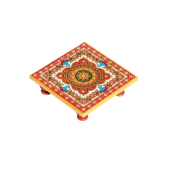 Marble Chowki with intricate floral Painting