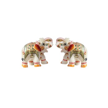 HANDICRAFTS PARADISE PAIR OF MARBLE ELEPHANT EMBOSS PAINTING GOLDEN COLOUR