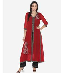Women Maroon embroidered Flared  Kurta