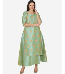 Lime embroidered Partywear  Kurta