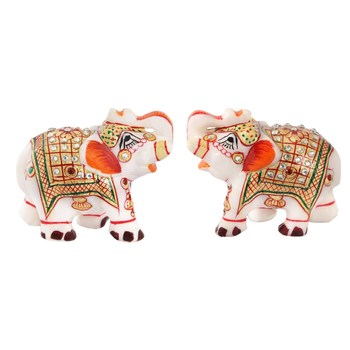 Marble Elephant pair with Kundan work and golden finish