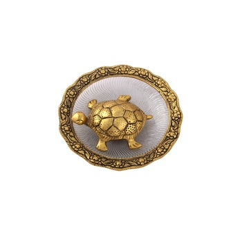 Tortiose on glass plate gold Plated in Metal
