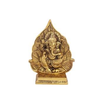 Ganeshsa with leaf back drop in antique golden finish metal