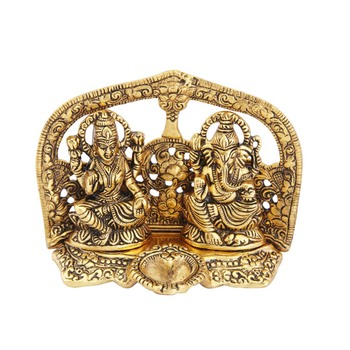 Lakshmi Ganesh seated with diya antique gold plated