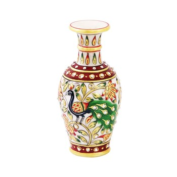 Marble flower Pot with beautiful Peacock painted