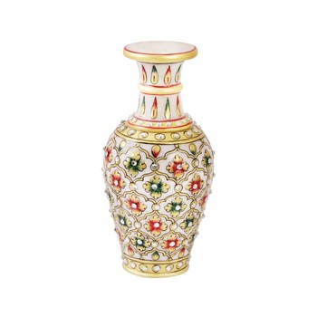 Marble flower vase with emboss painted mehrab design
