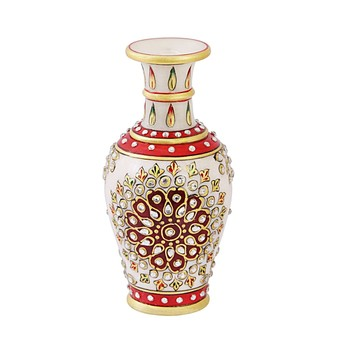 Marble flower Vase with white kundan work