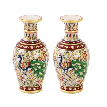 Marble flower Pot pair with beautiful Peacock painted