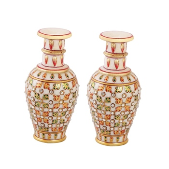 Marble flower pot pair with leaves painted in emboss