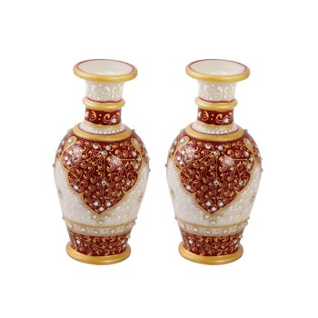 Marble flower vase pair with hand painted kuppi work by Handicrafts Paradise
