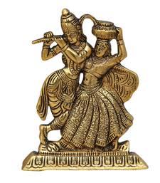 Radha Krishna Antique Golden in Metal