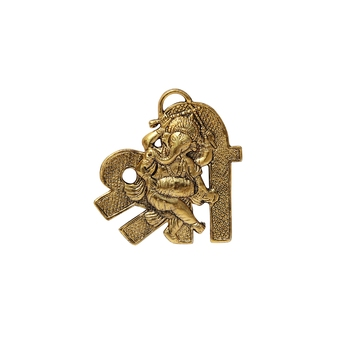 Hanging in metal with Ganesha playing dholak placed on Shree shaped Base
