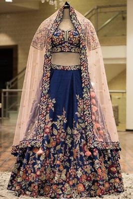 Blue embroidered Taffeta silk semi stitched lehenga