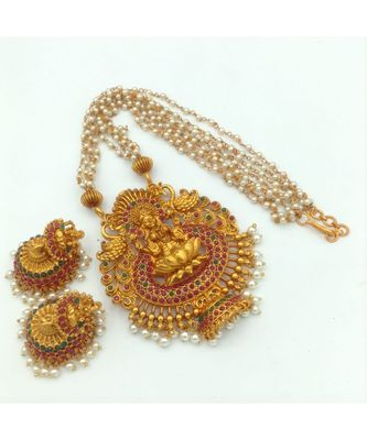 Gold Plated Stone Studded Temple Jewellery Necklace Sets