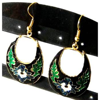 Black & Green Meenakari earrings