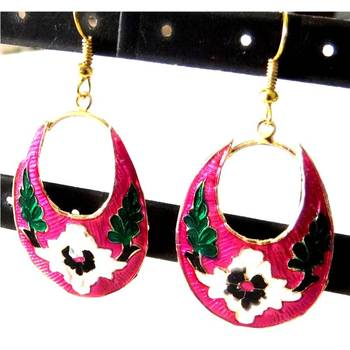 Pink Meenakari Earrings
