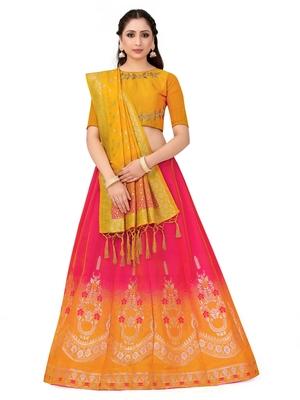 Multicolor Zari Woven Polyester Semi Stitched Lehenga