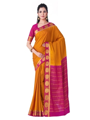 Rust Hand Woven Crepe Saree With Blouse