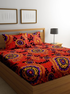 Red floral print bed sheets with two pillow cover