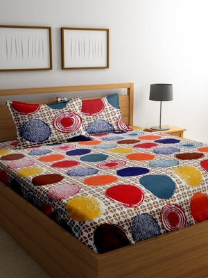 Red polka dots bed sheets with two pillow cover