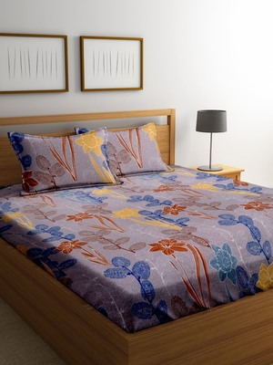 Blue floral print bed sheets with two pillow cover