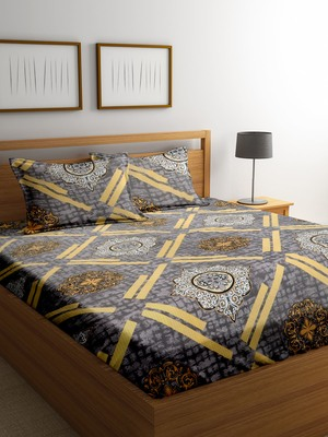 Brown striped bed sheets with two pillow cover