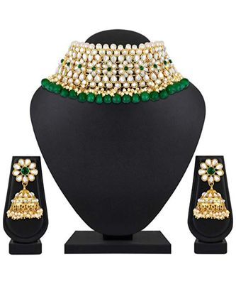 Green Kundan Designer Necklace Sets