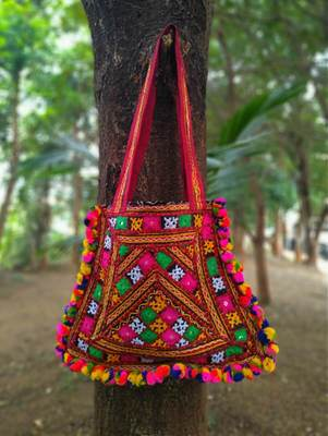 Kutch Embroidered Banjara Tote Bag With Multicolored Pompoms All Around With Non Adjustable Strap