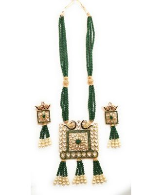 Green Designer Ethnic Peacock Premium Quality Square Kundan Pendent Necklace Set For Women